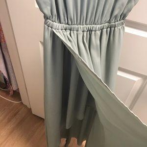 Silver sage brides maids dress